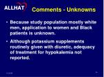 comments unknowns