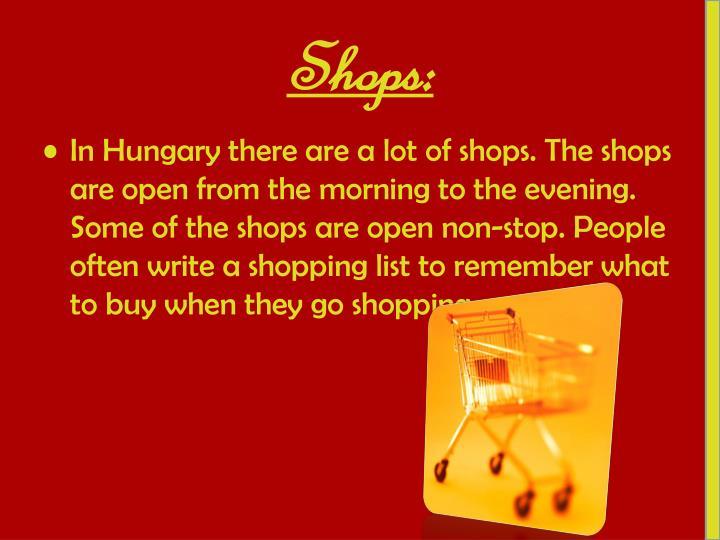 Shops: