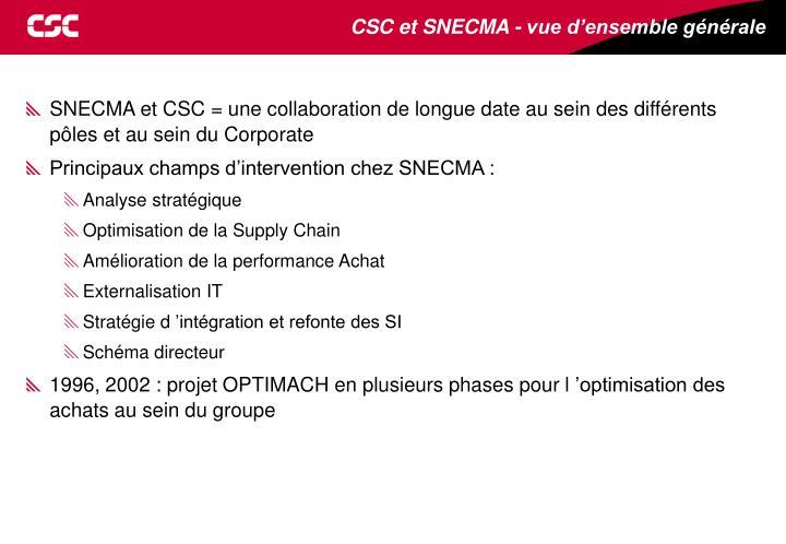 CSC et SNECMA - vue d'ensemble générale
