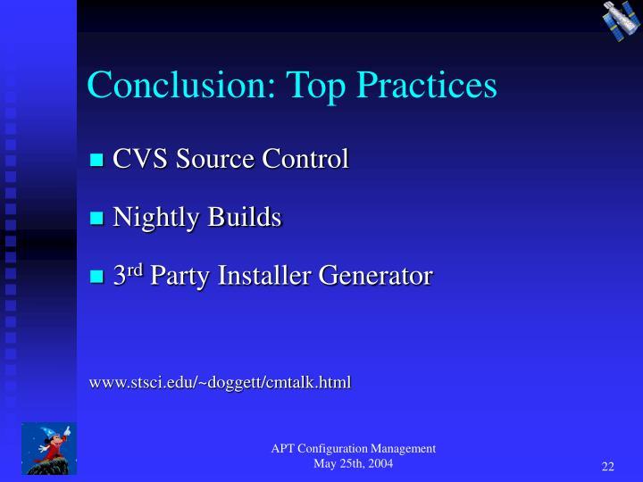 Conclusion: Top Practices