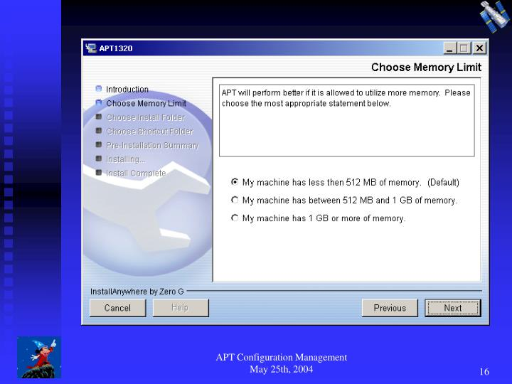 APT Configuration Management May 25th, 2004
