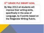 5 th grade plc smart goal