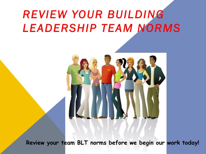 Review your Building Leadership Team Norms