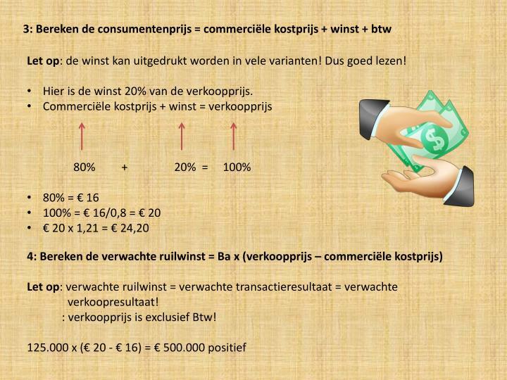 3: Bereken de consumentenprijs = commerciële kostprijs + winst + btw