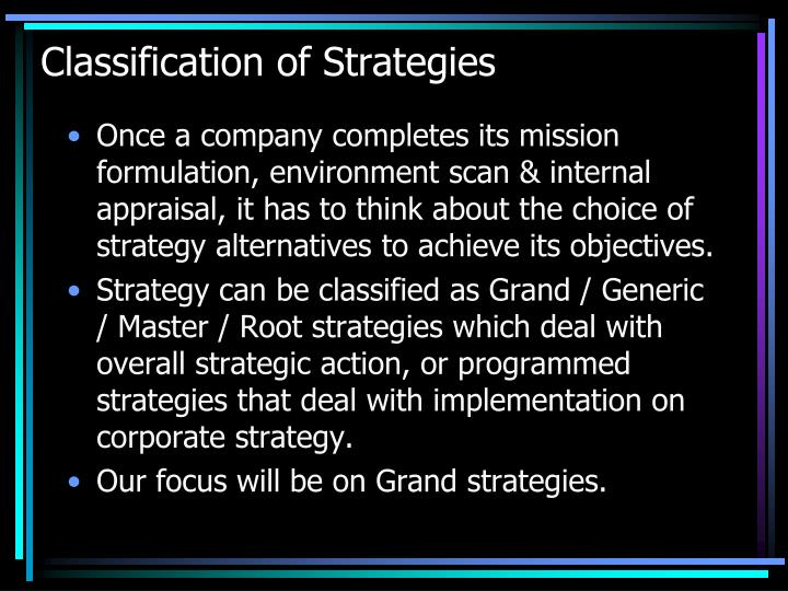 Classification of Strategies