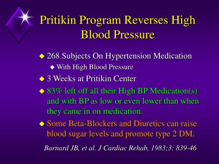 Pritikin Program Reverses High Blood Pressure