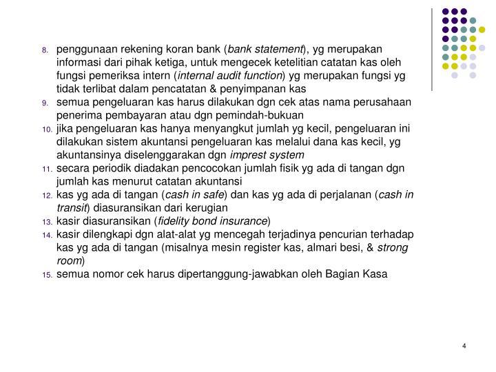 penggunaan rekening koran bank (