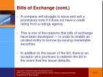 bills of exchange cont