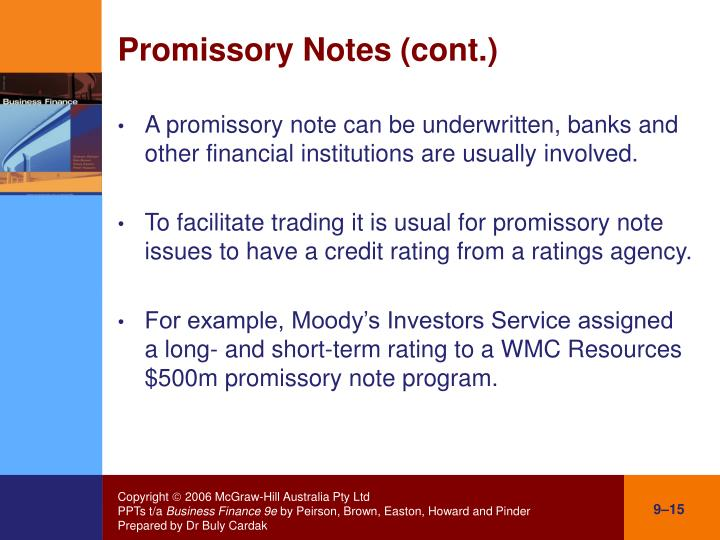 Promissory Notes (cont.)