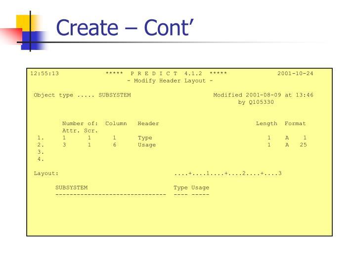 Create – Cont'