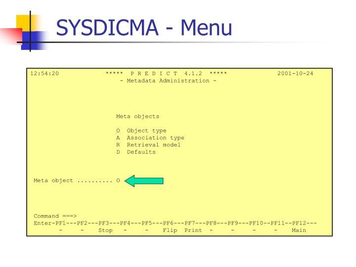 SYSDICMA - Menu
