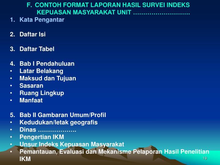 CONTOH FORMAT LAPORAN HASIL SURVEI INDEKS