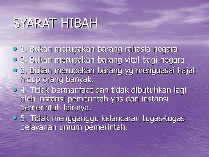 SYARAT HIBAH