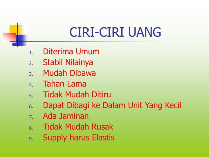 CIRI-CIRI UANG