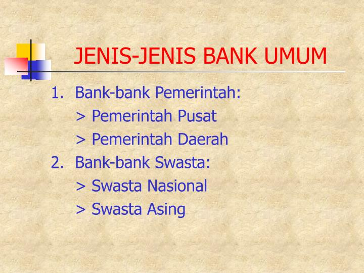 JENIS-JENIS BANK UMUM