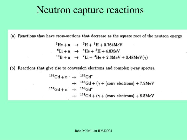 Neutron capture reactions