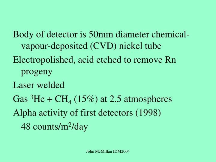 Body of detector is 50mm diameter chemical-vapour-deposited (CVD) nickel tube
