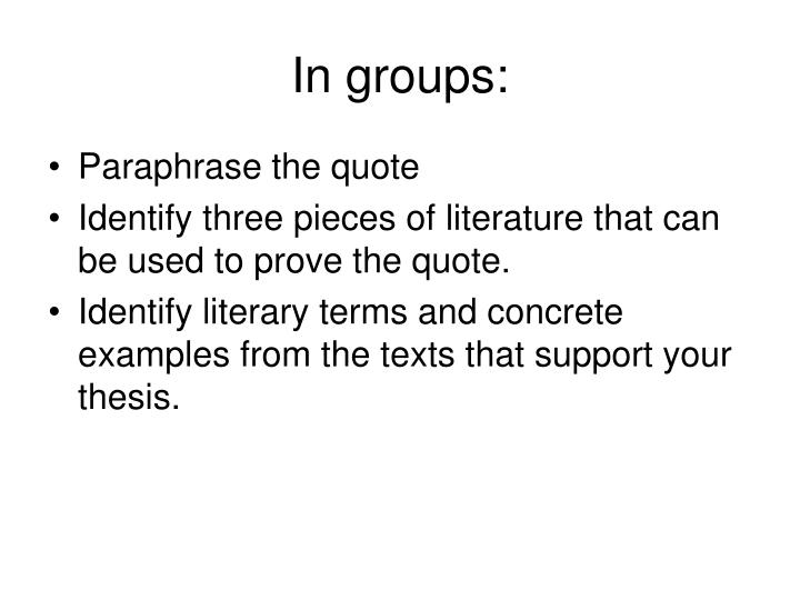 In groups: