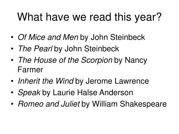 What have we read this year?