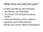 what have we read this year