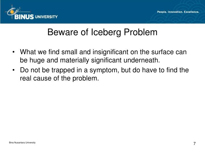 Beware of Iceberg Problem