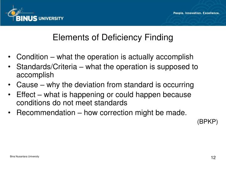 Elements of Deficiency Finding