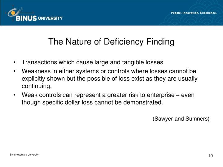 The Nature of Deficiency Finding