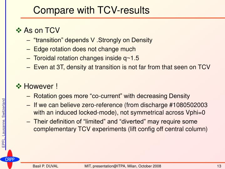 Compare with TCV-results