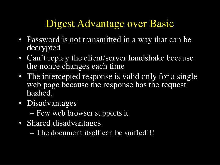 Digest Advantage over Basic