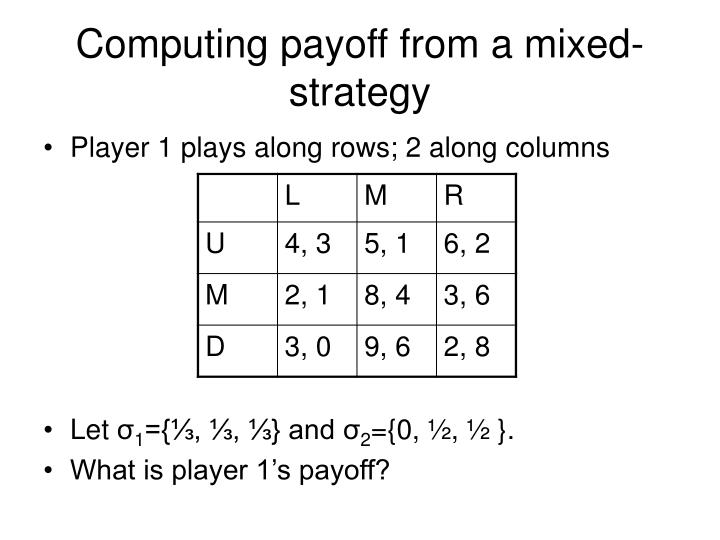 Computing payoff from a mixed-strategy