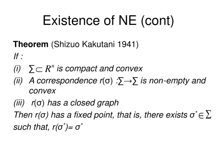 Existence of NE (cont)