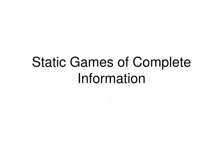 static games of complete information