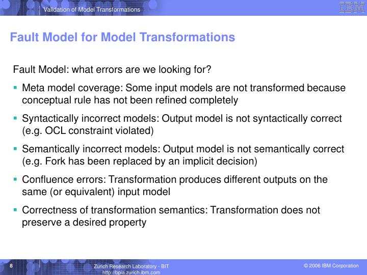 Fault Model for Model Transformations