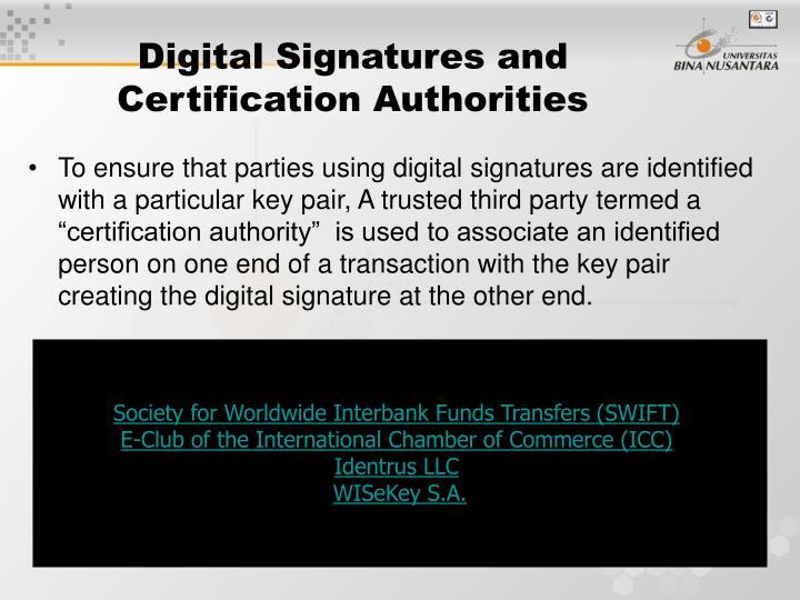 Digital Signatures and Certification Authorities