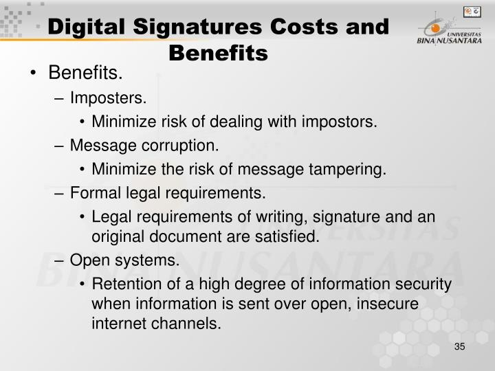 Digital Signatures Costs and Benefits
