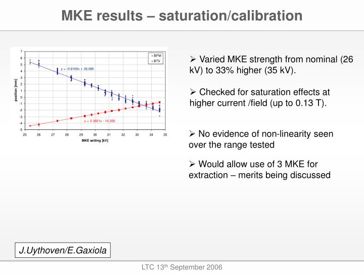 MKE results – saturation/calibration