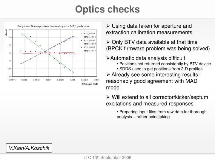 Optics checks