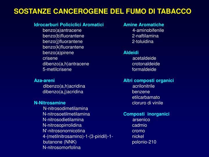 SOSTANZE CANCEROGENE DEL FUMO DI TABACCO