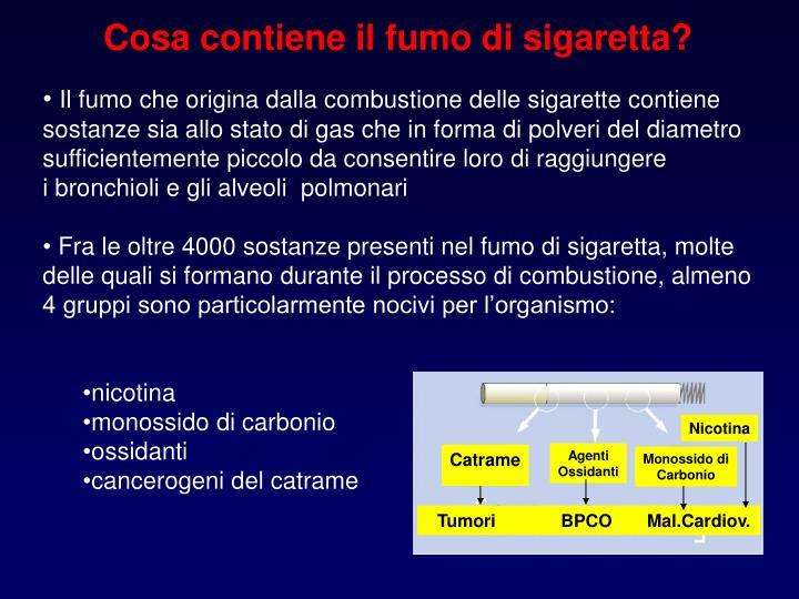 Cosa contiene il fumo di sigaretta?