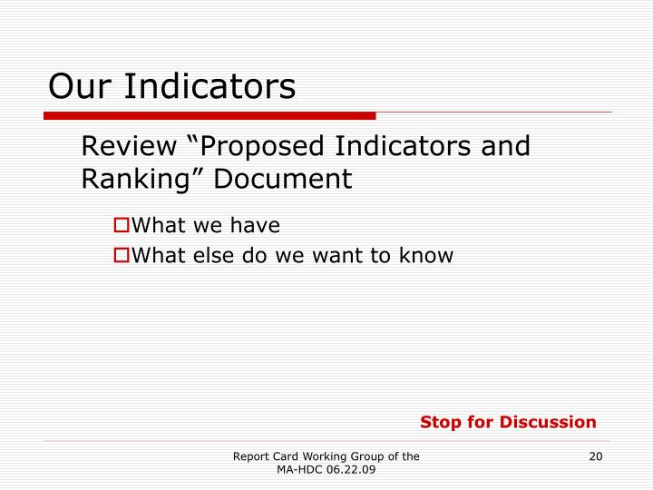 Our Indicators