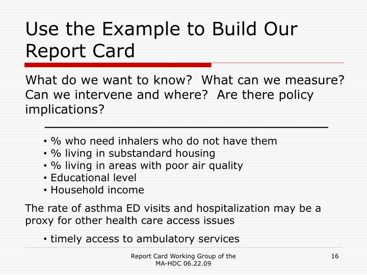 Use the Example to Build Our Report Card