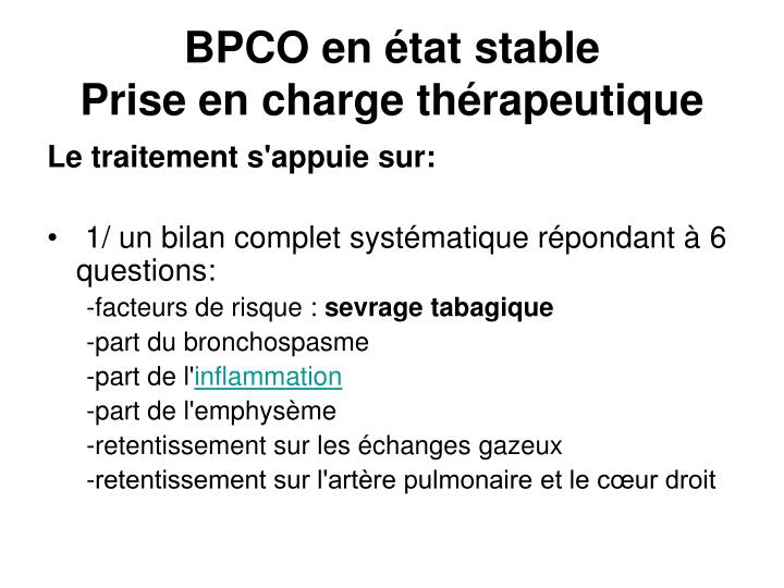 BPCO en état stable
