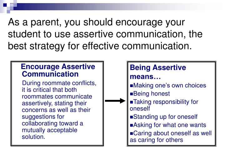 As a parent, you should encourage your student to use assertive communication, the best strategy for effective communication.