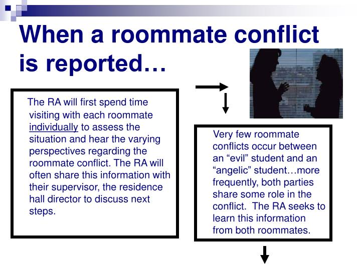 When a roommate conflict is reported…
