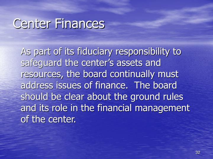 Center Finances