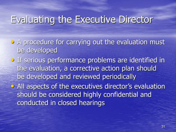 Evaluating the Executive Director