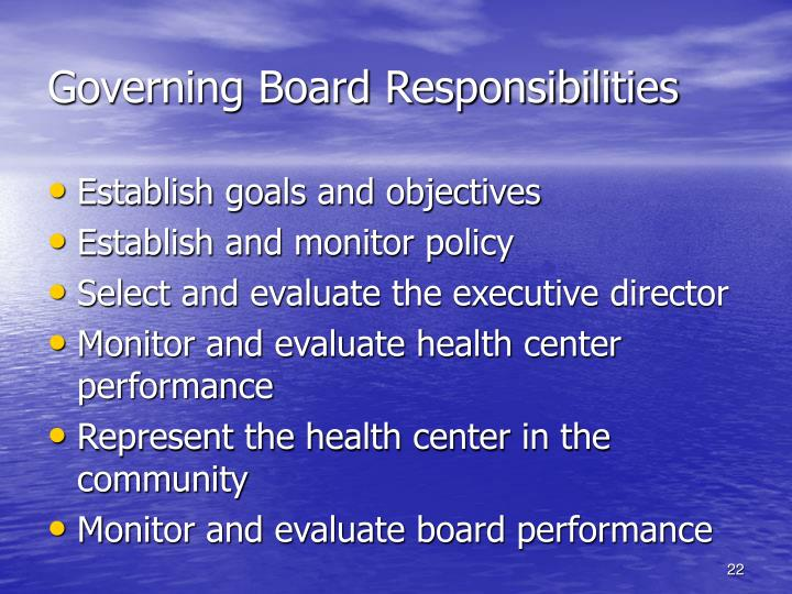 Governing Board Responsibilities