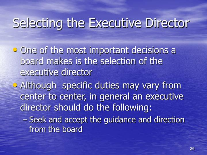 Selecting the Executive Director