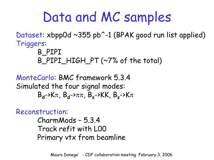 Data and MC samples