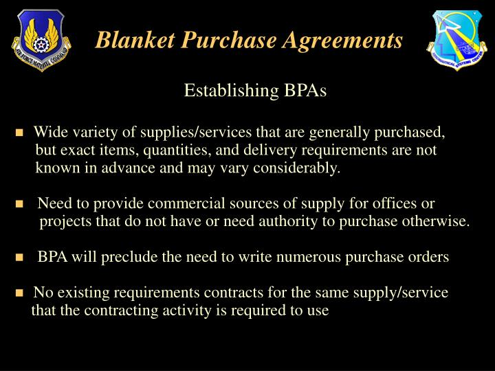 Ppt - Blanket Purchase Agreements Powerpoint Presentation - Id:3785227